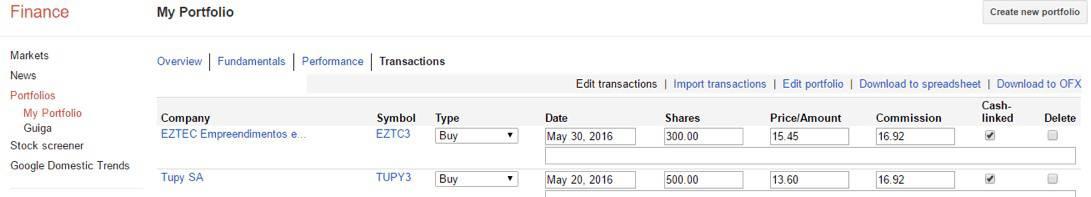 Imagem de um exemplo do Google Finance