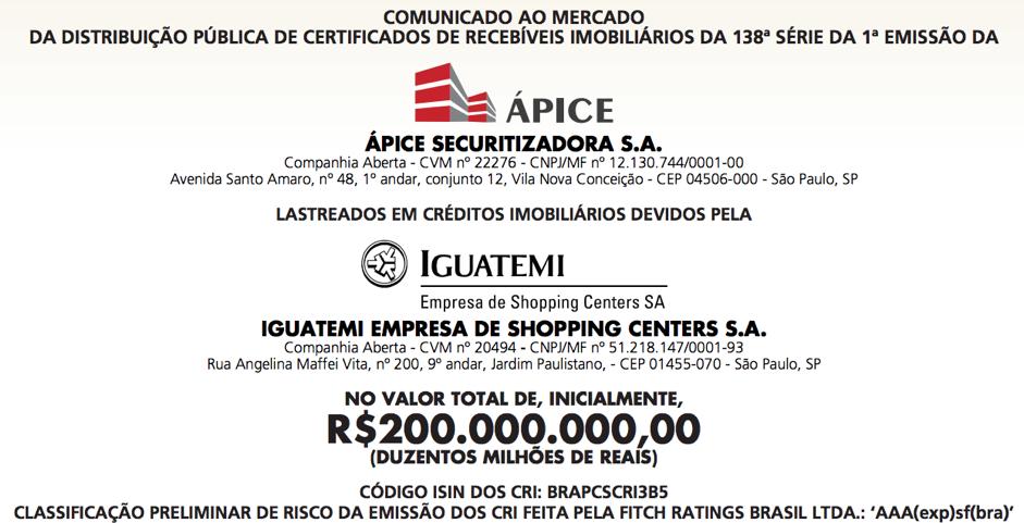 grau de investimento Iguatemi