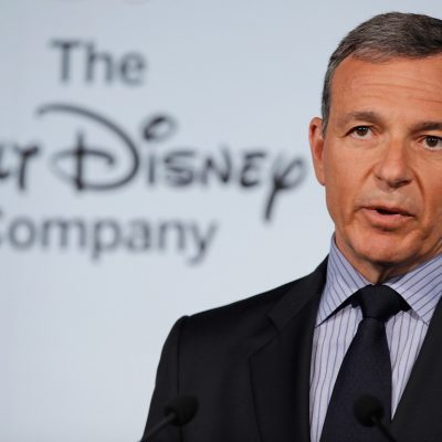 """WASHINGTON, DC - JUNE 05:  The Walt Disney Company Chairman and CEO Robert Iger delivers remarks during an event introducing Disney's new """"Magic of Healthy Living"""" program at the Newseum June 5, 2012 in Washington, DC. As part of the new healthy eating initiative, all products advertised on Disney's child-focused television channels, radio stations and Web sites must adhear to a new set of strict nutritional standards. Addionally, Disney-licensed products that meet criteria for limited calories, saturated fat, sodium and sugar can display a logo - Mickey Mouse ears and a check mark - on their packaging.  (Photo by Chip Somodevilla/Getty Images)"""